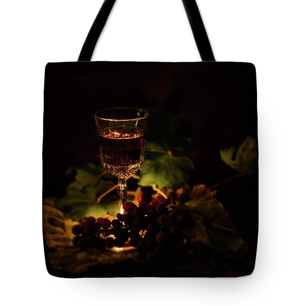 Wine Glass And Grapes Tote Bag