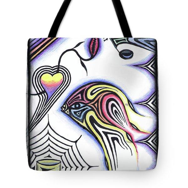 Wine Glass Fish Tote Bag