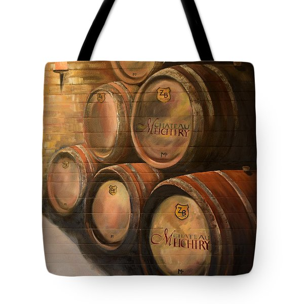 Tote Bag featuring the painting Wine In The Barrels - Chateau Meichtry by Jan Dappen