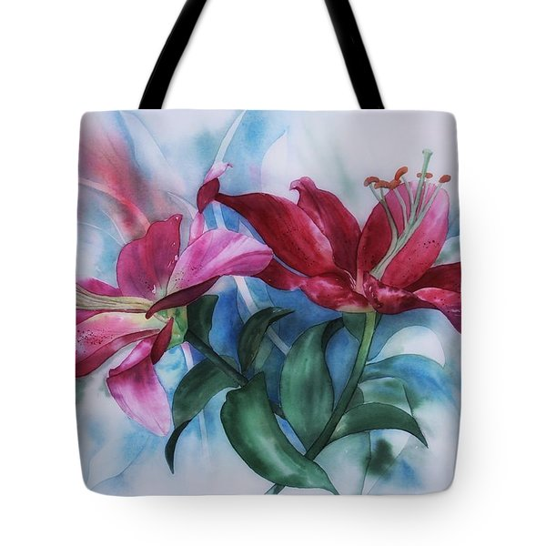 Wine Lillies In Pastel Watercolour Tote Bag