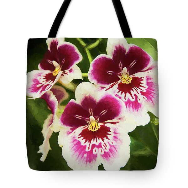 Tote Bag featuring the photograph Wine Orchids- The Risen Lord by Penny Lisowski