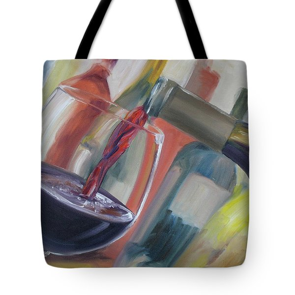 Tote Bag featuring the painting Wine Pour by Donna Tuten