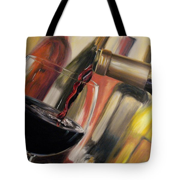 Tote Bag featuring the painting Wine Pour II by Donna Tuten