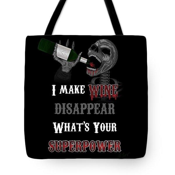 Wine Superpower Skeleton Fantasy Art Tote Bag