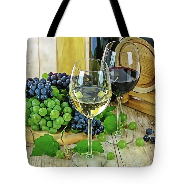 Tote Bag featuring the painting Wine Tasting by Harry Warrick