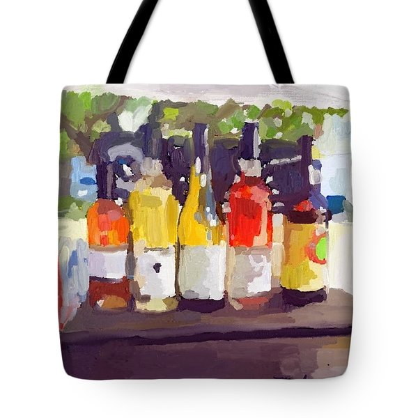 Wine Tasting Tent At Rockport Farmers Market Tote Bag by Melissa Abbott