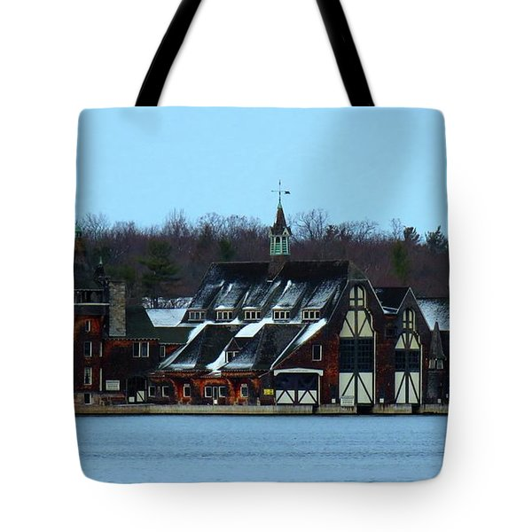 Snow On Boldt Castle Yacht House Tote Bag