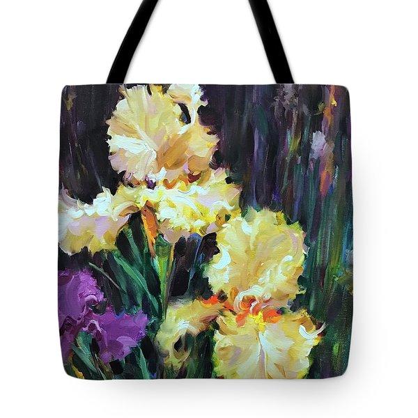 Wing Span Yellow Irises Tote Bag