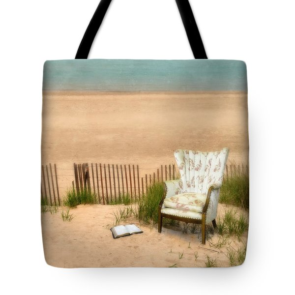 Wingback Chair At The Beach Tote Bag