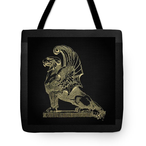 Tote Bag featuring the digital art Winged Chimera From Theater De Bellecour, Lyon, France, In Gold On Black by Serge Averbukh
