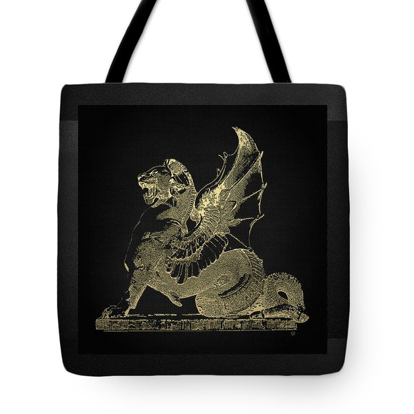 Tote Bag featuring the digital art Winged Dragon Chimera From Fontaine Saint-michel, Paris In Gold On Black by Serge Averbukh