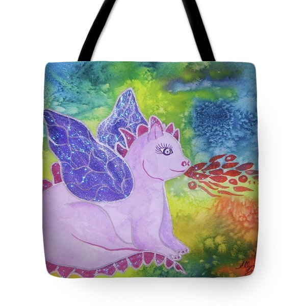 Tote Bag featuring the painting Winged Dragon by Ellen Levinson