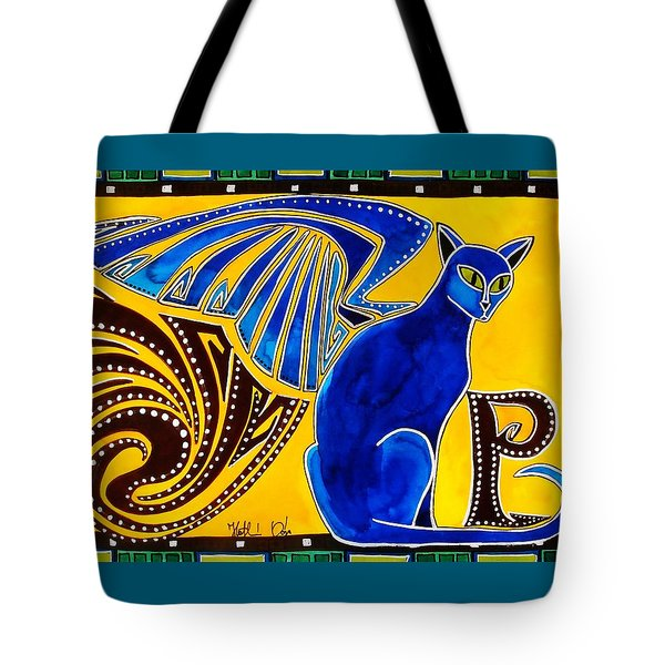 Winged Feline - Cat Art With Letter P By Dora Hathazi Mendes Tote Bag by Dora Hathazi Mendes