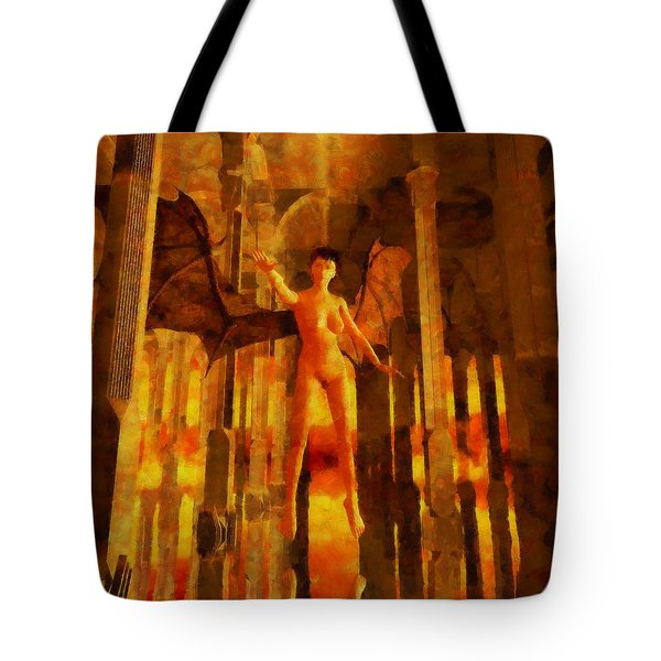 Winged Goddess In The Temple Tote Bag