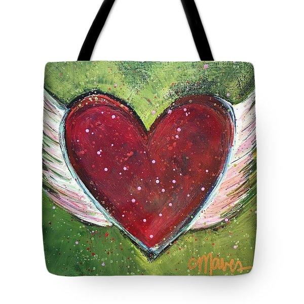 Tote Bag featuring the painting Winged Heart Number 1 by Laurie Maves ART