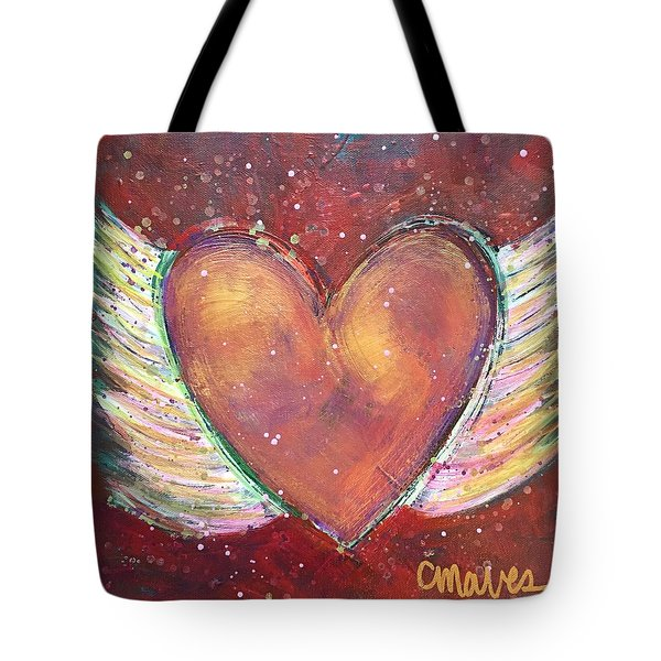 Tote Bag featuring the painting Winged Heart Number 2 by Laurie Maves ART
