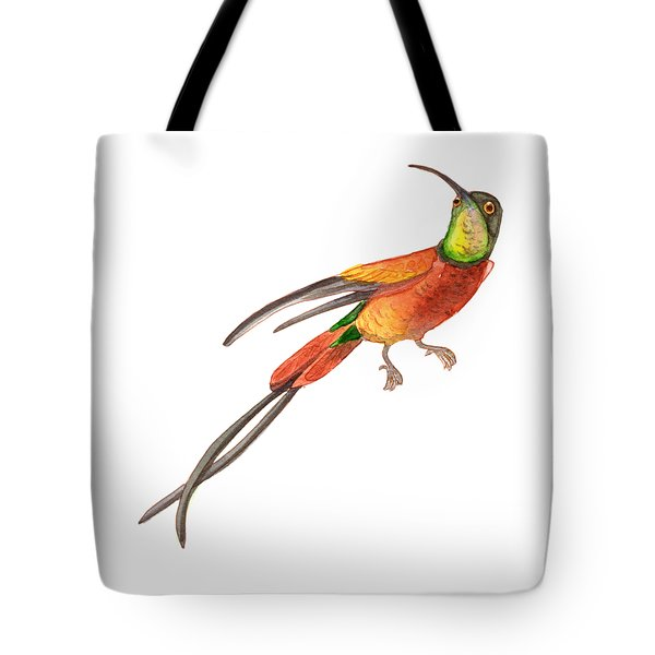 Tote Bag featuring the painting Winged Jewel 6, Watercolor Tropical Rainforest Hummingbird Red, Yellow, Orange And Green by Audrey Jeanne Roberts