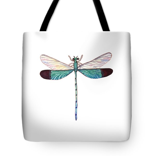 Tote Bag featuring the painting Winged Jewels 1, Watercolor Tropical Dragonfly Aqua Blue Black by Audrey Jeanne Roberts