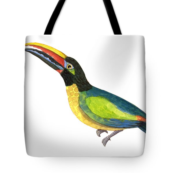 Tote Bag featuring the painting Winged Jewels 2, Watercolor Toucan Rainforest Birds by Audrey Jeanne Roberts