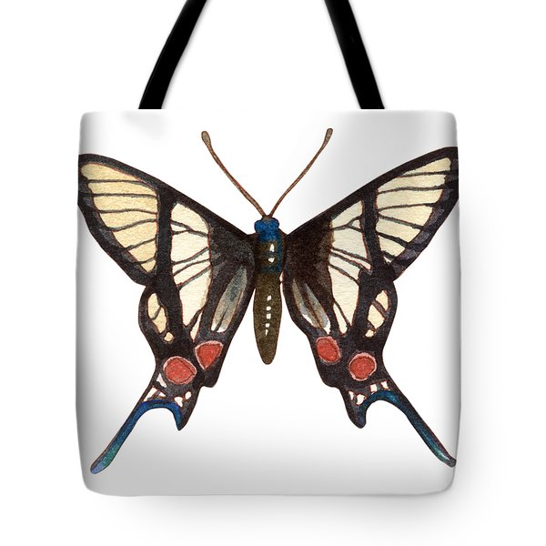 Tote Bag featuring the painting Winged Jewels 4, Watercolor Tropical Butterflie Black White Red Spots by Audrey Jeanne Roberts