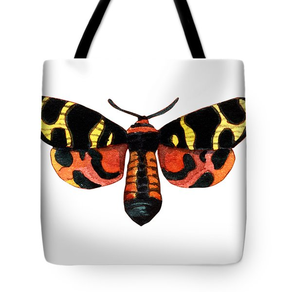 Tote Bag featuring the painting Winged Jewels 5, Watercolor Moth Black Yellow Orange And Red Tropical by Audrey Jeanne Roberts
