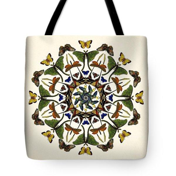 Tote Bag featuring the digital art Winged Kaleidoscope by Deborah Smith
