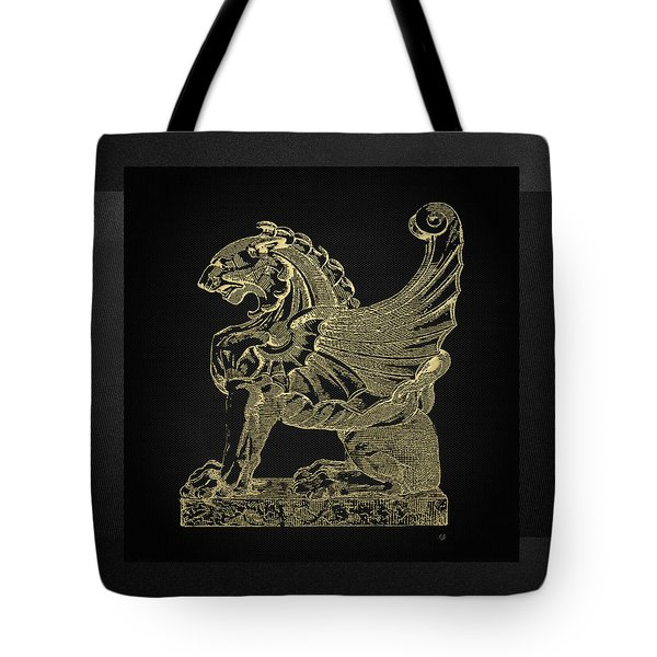Tote Bag featuring the digital art Winged Lion Chimera From Casa San Isidora, Santiago, Chile, In Gold On Black by Serge Averbukh