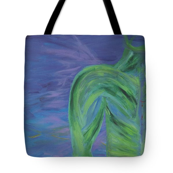 Tote Bag featuring the painting Winged Thing by Lola Connelly
