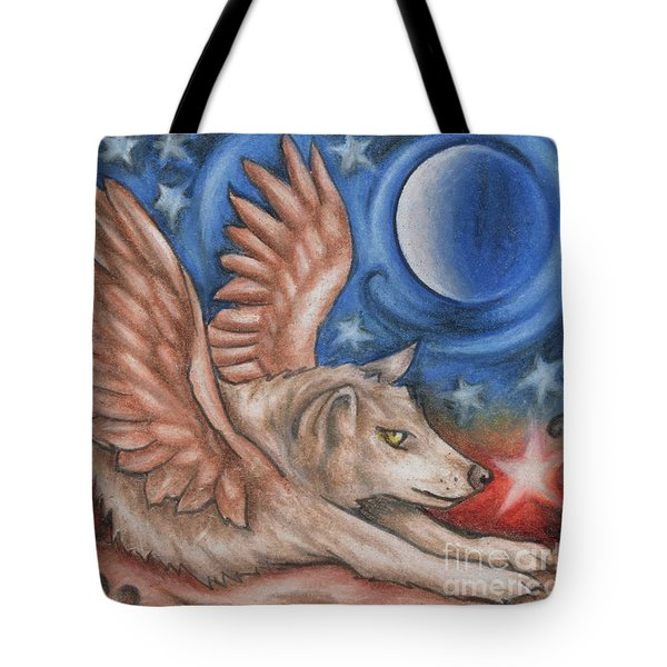 Winged Wolf In Downward Dog Yoga Pose Tote Bag