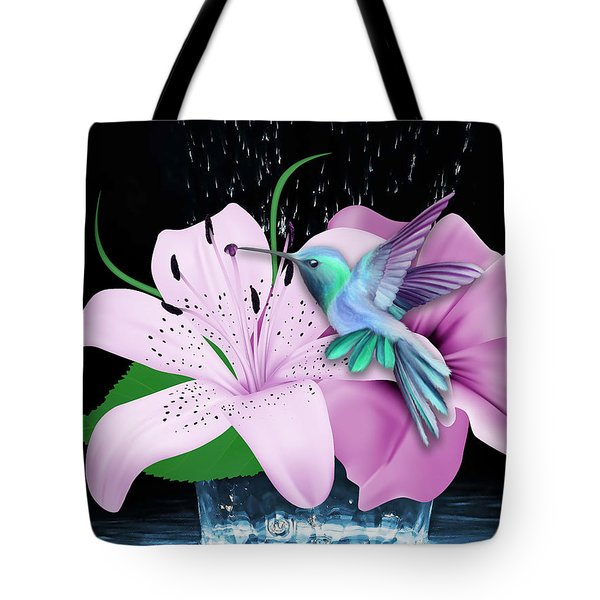 Tote Bag featuring the mixed media Winging It Hummingbird by Marvin Blaine