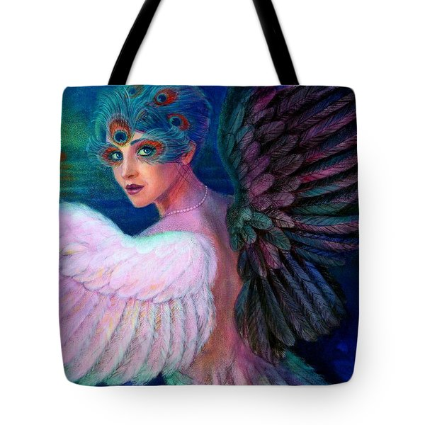 Tote Bag featuring the painting Wings Of Duality by Sue Halstenberg