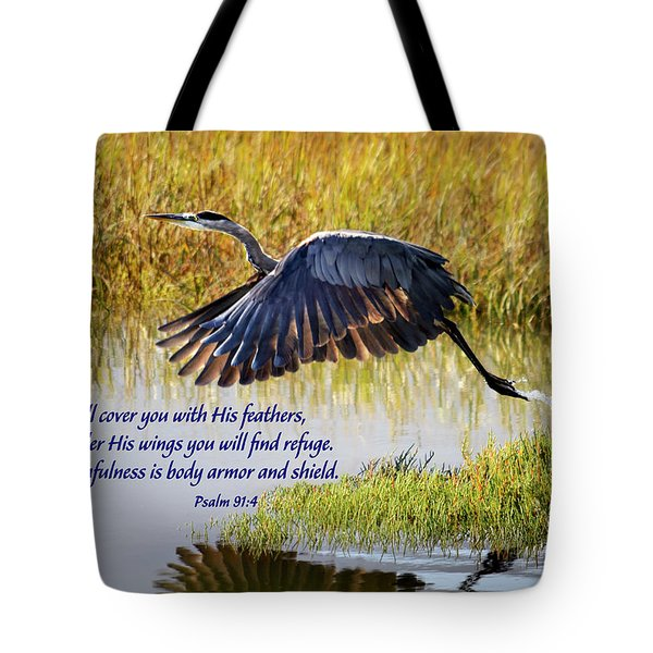 Wings Of Refuge With Scripture Tote Bag