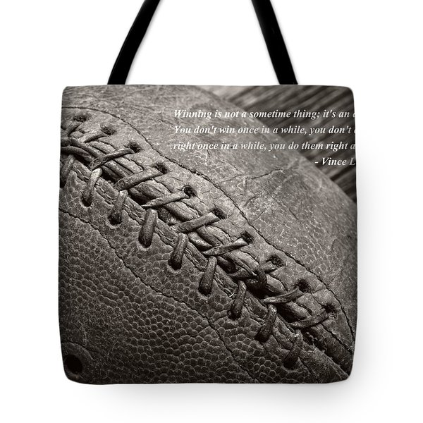 Winning Quote From Vince Lombardi Tote Bag