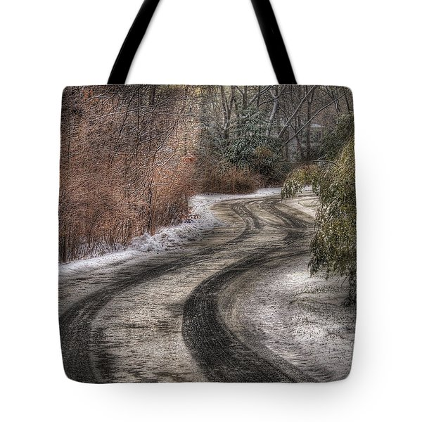 Winter - Road - The Hidden Road Tote Bag by Mike Savad