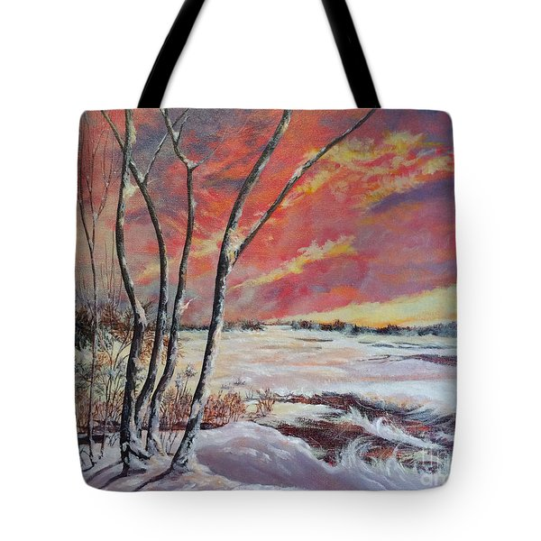 Winter Across The Lake  Tote Bag