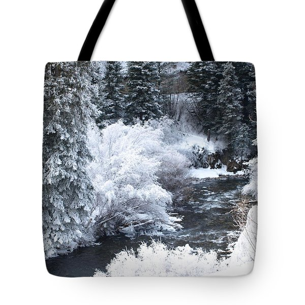 Winter Along The Creek Tote Bag