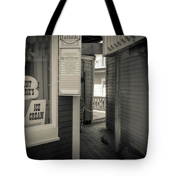 Winter At Aunt Marie's Ice Cream Stand Tote Bag