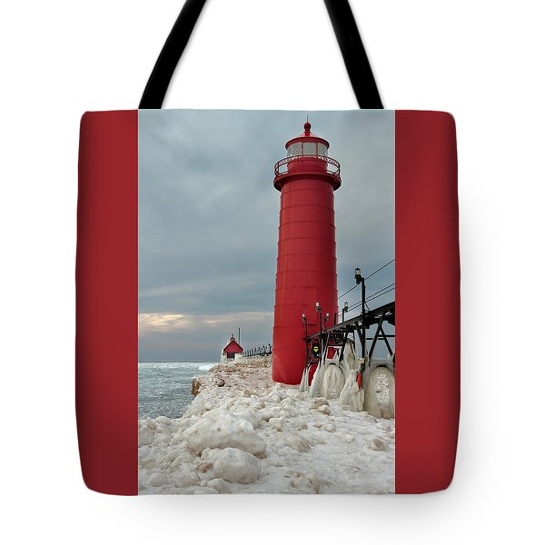 Winter At Grand Haven Lighthouse Tote Bag