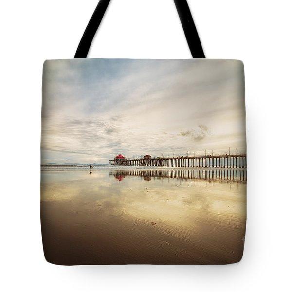 Winter At Huntington Beach Pier Tote Bag