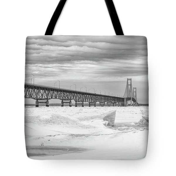 Tote Bag featuring the photograph Winter At Mackinac Bridge by John McGraw