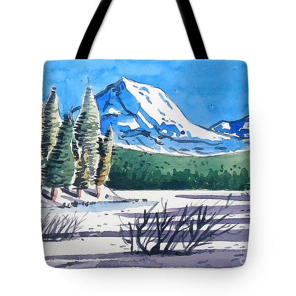 Tote Bag featuring the painting Winter At Mt. Lassen by Terry Banderas