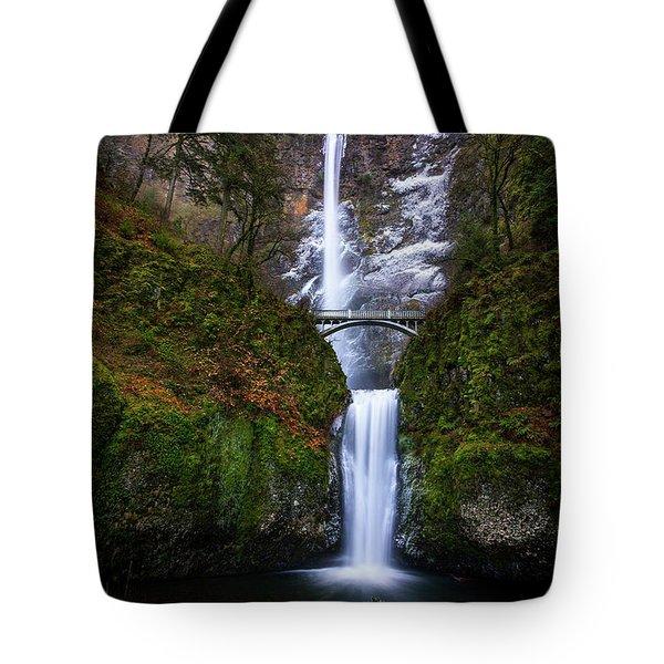 Winter At Multnomah Falls Tote Bag