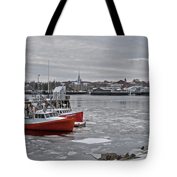 Winter At Newburyport Harbor Tote Bag