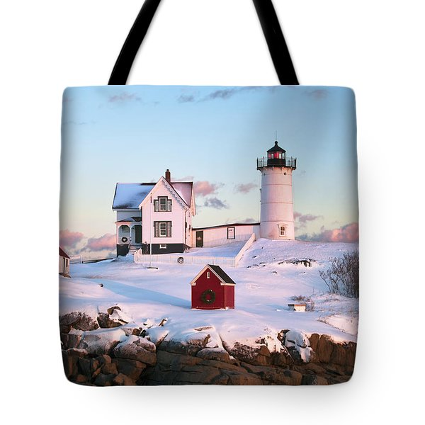 Winter At Nubble Tote Bag