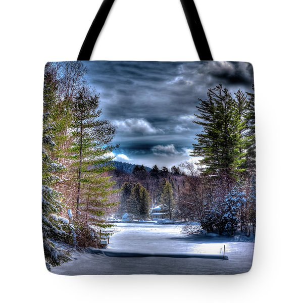 Tote Bag featuring the photograph Winter At The Boathouse by David Patterson