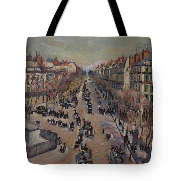 Winter At The Boulevard De La Madeleine, Paris Tote Bag