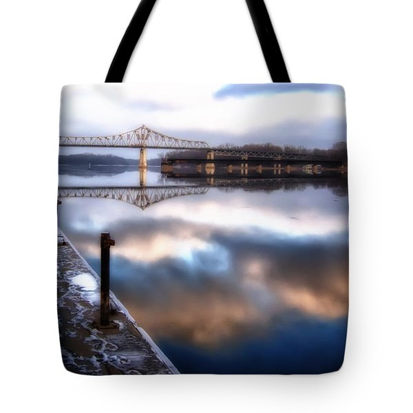 Winter At The Levee Tote Bag
