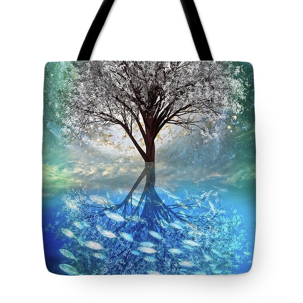 Tote Bag featuring the digital art Winter At The Reef by Debra and Dave Vanderlaan