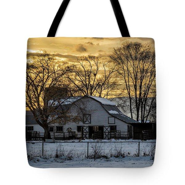 Winter Barn At Sunset - Provo - Utah Tote Bag by Gary Whitton