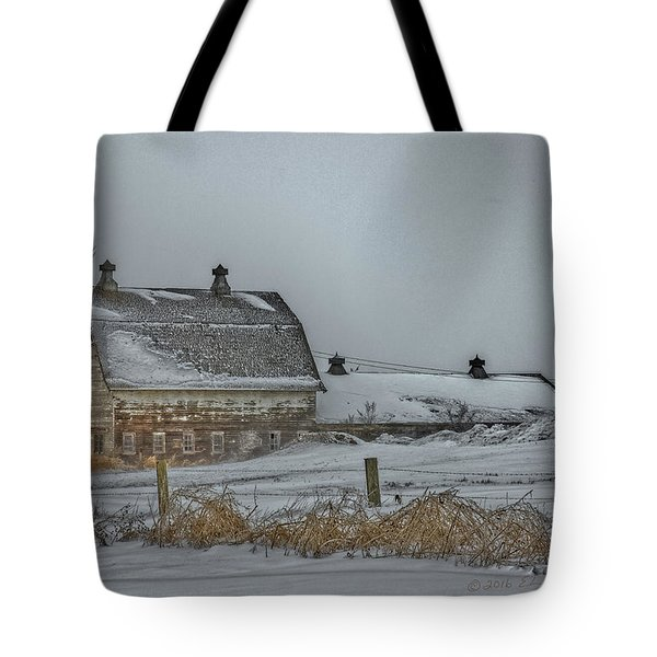 Winter Barn Tote Bag by Edward Peterson